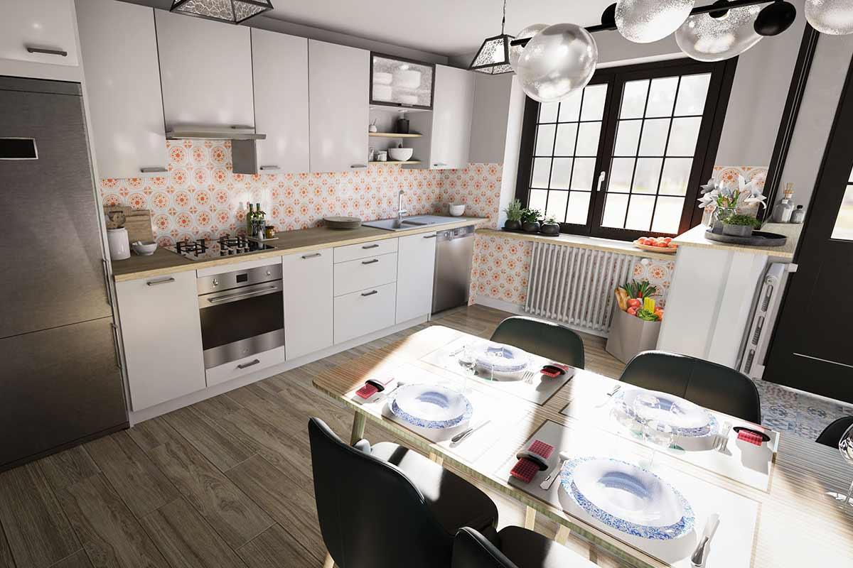 Modélisation 3D d'une cuisine avec son coin repas