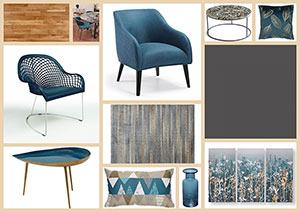 planche d'ambiance bleu paon et gris acier