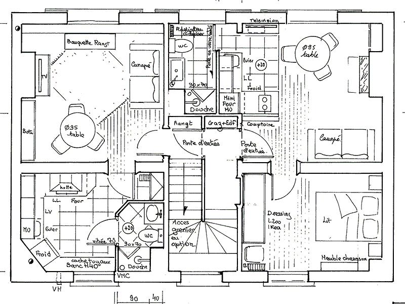 plan d'implantation de l appartement en vue de dessus.