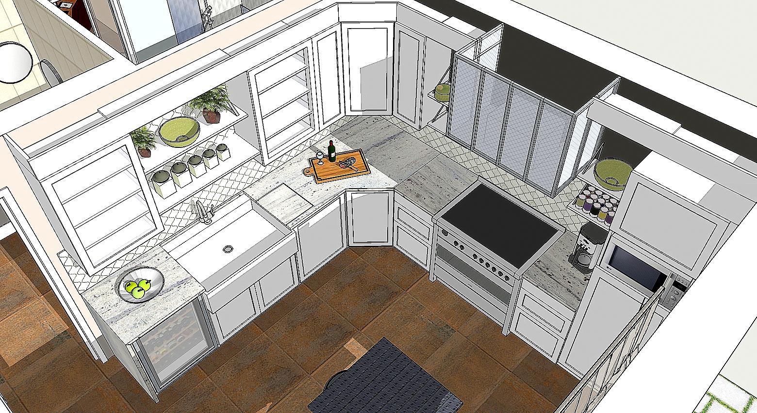 Agencement en 3D de la cuisine de style Craftsman