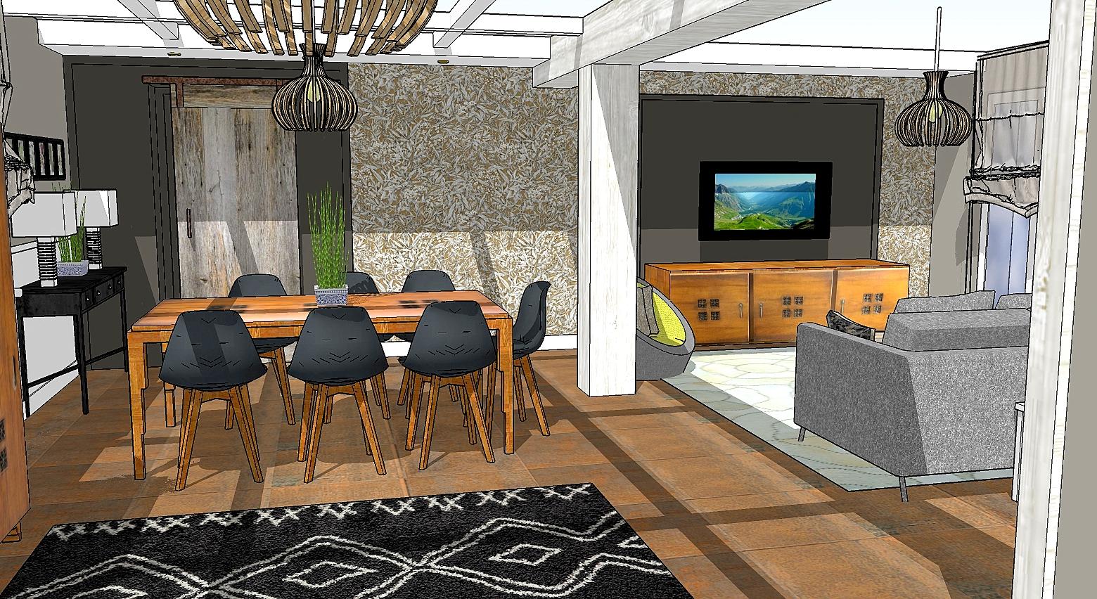 L'avant-projet en 3D de la salle à manger.