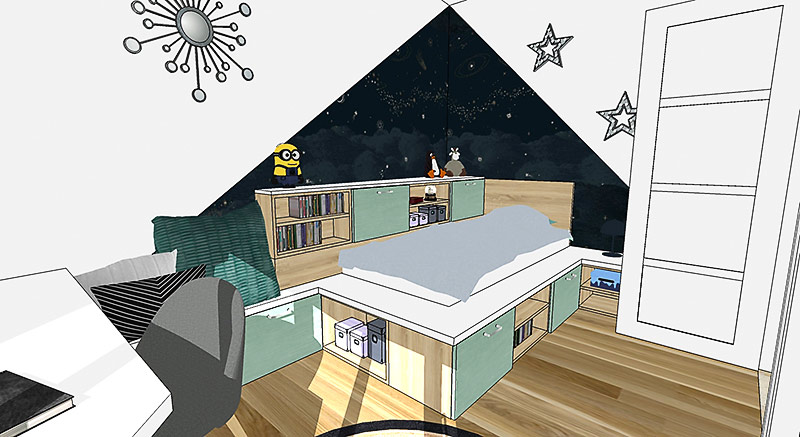 Modélisation 3D du projet d'aménagement de la chambre de garçon.