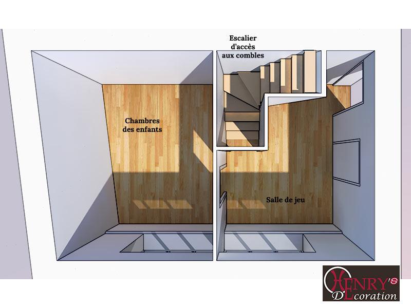 Le cloisonnement de la chambre d'enfant avant le réaménagement.