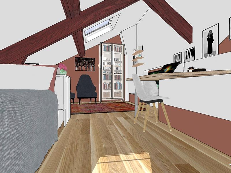 L'aménagement modélisé en 3D proposé pour la chambre sous combles.