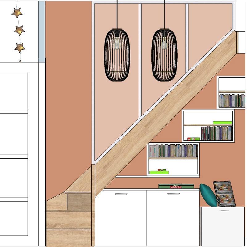 Vue en élévation de l'escalier d'accès aux combles