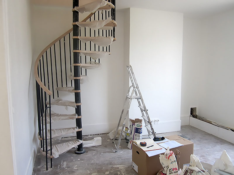 Installation d'un escalier en colimaçon
