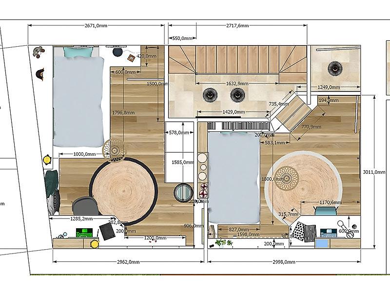 Shoesbox de l'étude d'aménagement des chambres pour les enfants.