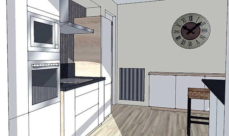 Vue 3D de la cuisine coté cuisson.