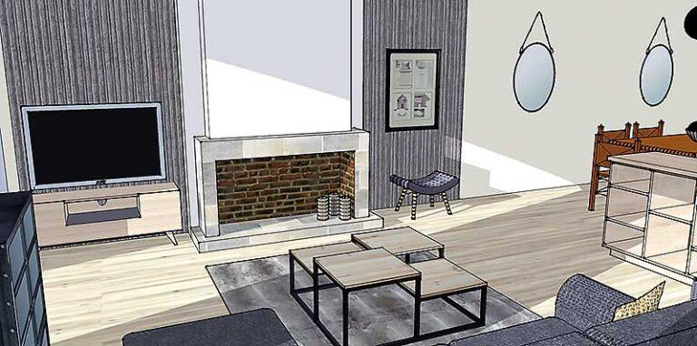 Maquette 3D de la cheminée du salon.