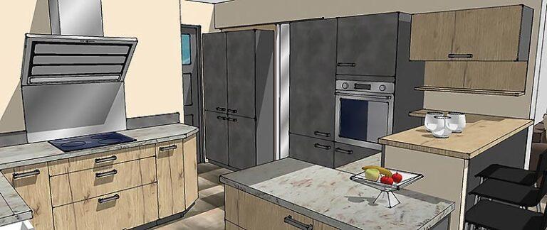 Viseul 3D du coté cuisson et conservation de la cuisine.