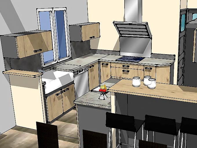 Maquette 3D du coté préparation de la cuisine.