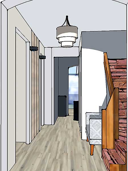 L'entrée de la maison en 3D.