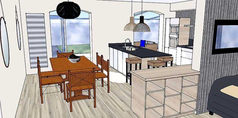 Visuel 3D de la salle à manger ouverte sur la cuisine.