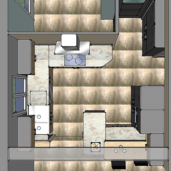 Plan 3D en vue de dessus de l'agencement de la cuisine.
