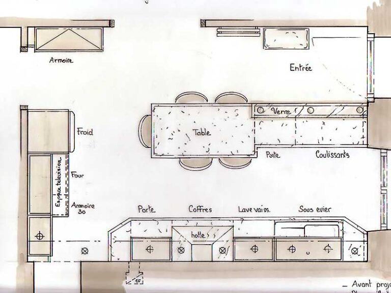 plan de conception de la cuisine en vue de dessus.