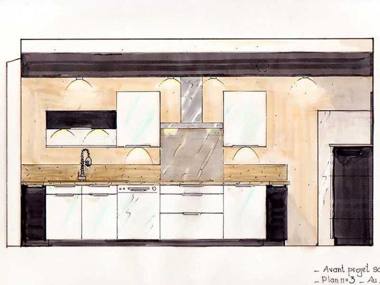 Plan en élévation de l'agencement du mobilier de la cuisine.