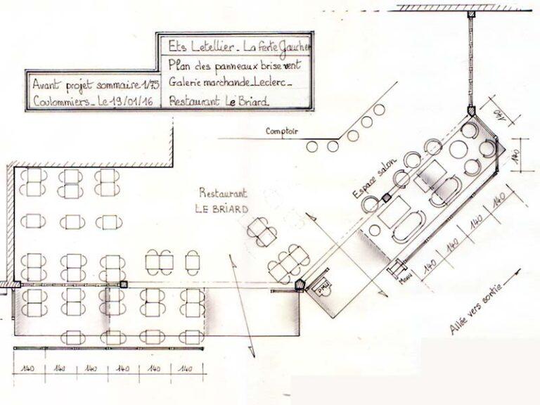 """Plan en vue de dessus de l'agencement des modules de cloisonnement du restaurant """"Le Briard"""""""
