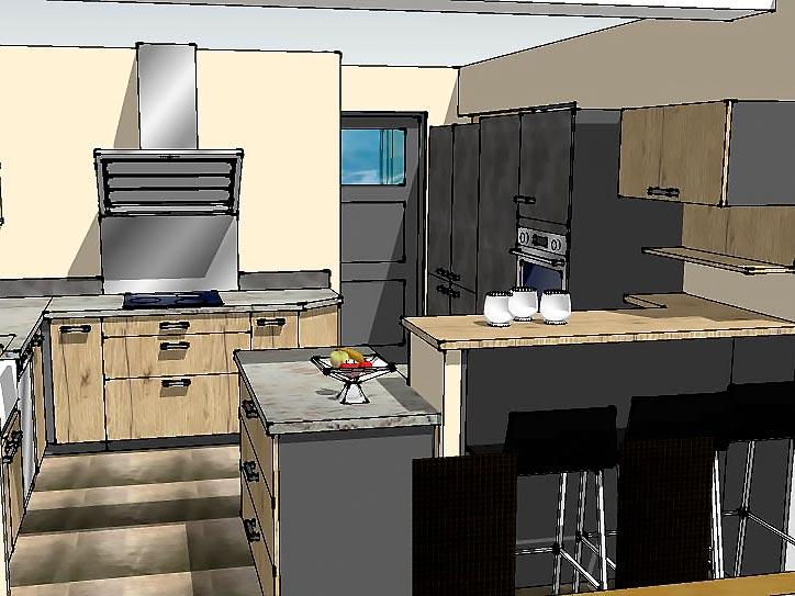 Maquette 3D de l'agencement de l'ilot de cuisine.