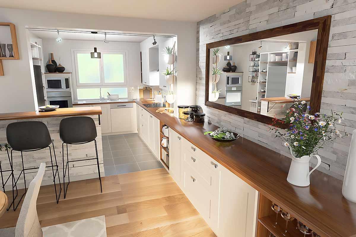 Modélisation 3D de l'ouverture de la cuisine sur le séjour d'un client avec un comptoir de séparation et l'extension du plan de travail dans la salle à manger.