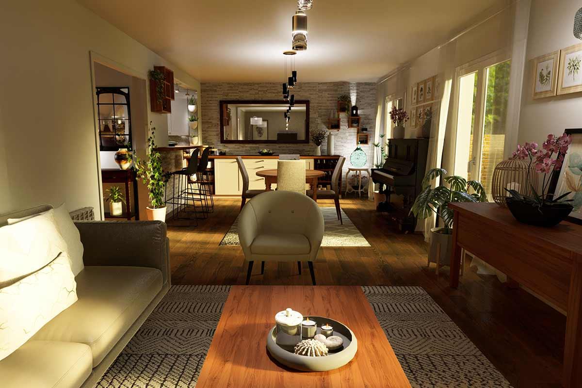 Maquette en 3D du séjour pour un client.